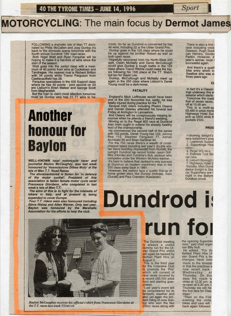 Another Honour for Baylon - The Tyrone Times - 14 June 1996