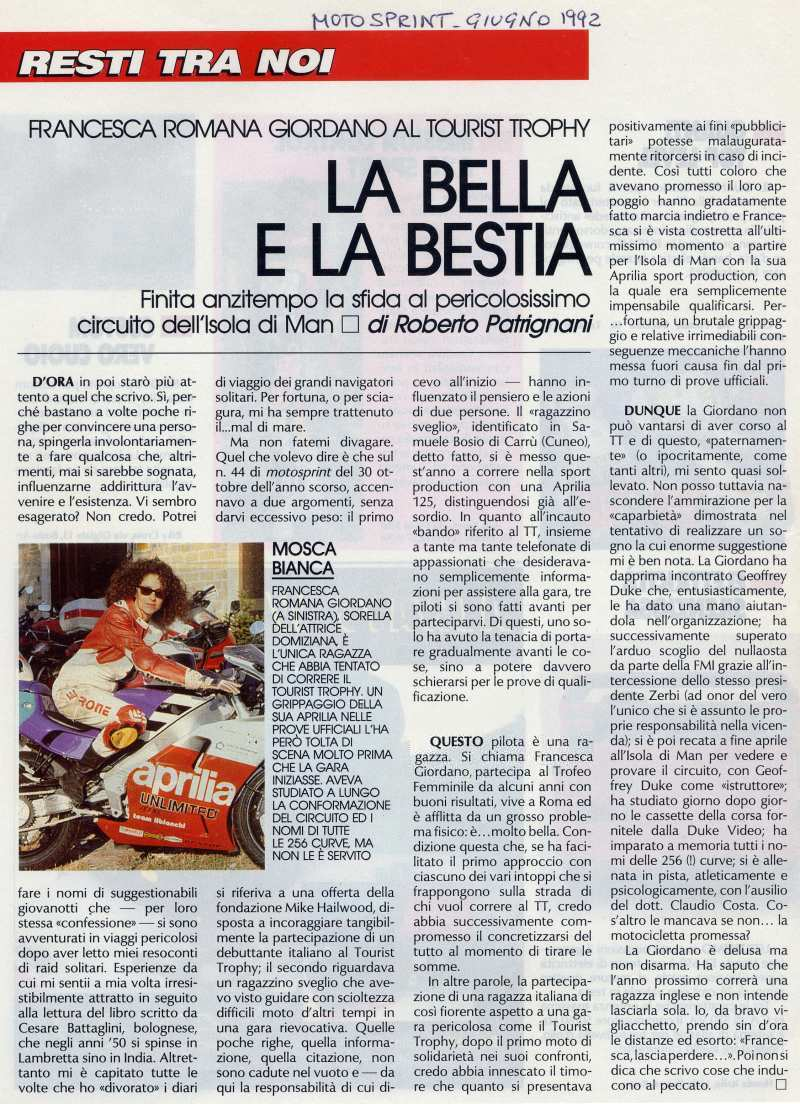La Bella e la Bestia - Motosprint - June 1992