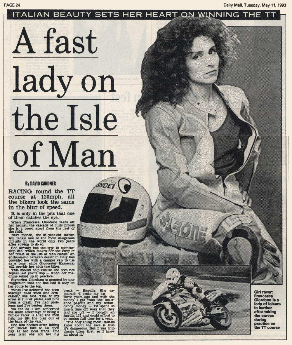 A Fast Lady on the Isle of Man - Daily Mail - 11 May 1993