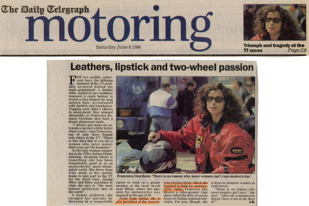 Lethers, Lipstick and Two-Wheel Passion - Daily Telegraph - 8 June 1996