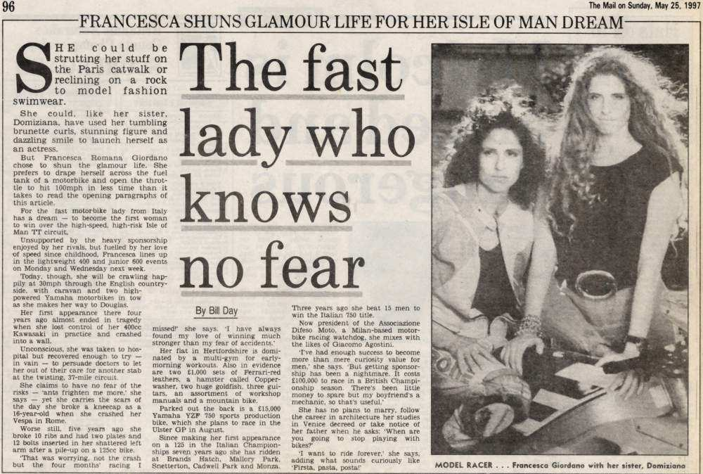 The Fast Lady Who Knows No Fear - Mail on Sunday - 25 May 1997