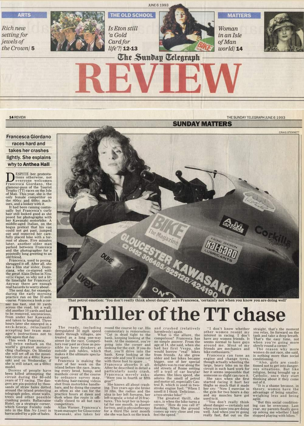 Thrill of the TT Chase - Sunday Telegraph - 6 June 1993