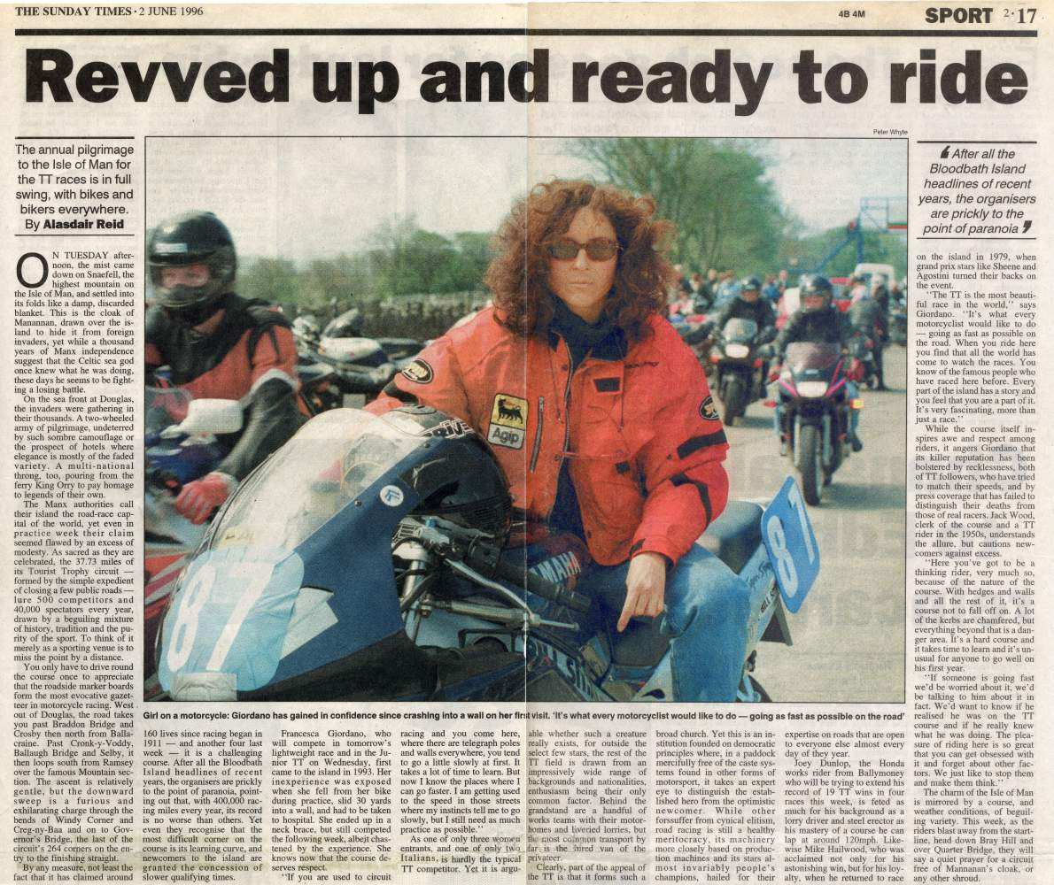Revved Up and Ready to Ride - Sunday Times - 2 June 1996