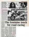 The Feminine Touch for Road Racing